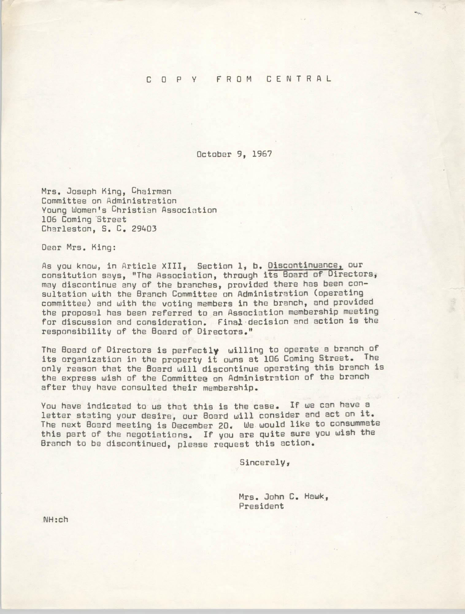 Letter from Mrs. John C. Hawk to Mrs. Joseph King, October 9, 1967