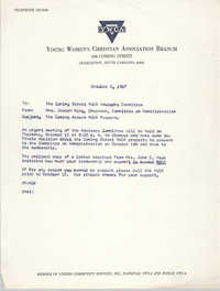 Coming Street Y.W.C.A. Memorandum, October 6, 1967