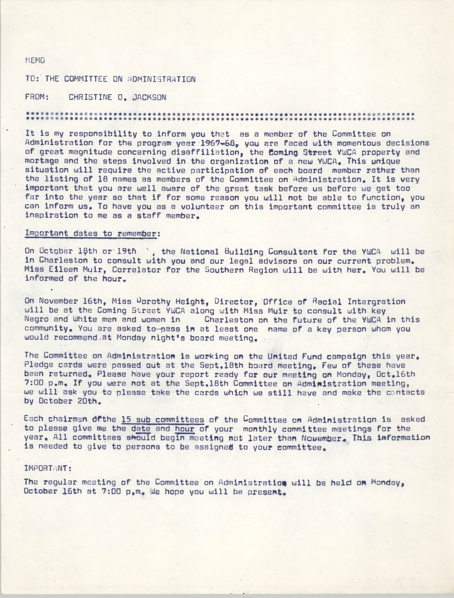 Coming Street Y.W.C.A. Memorandum, October 1967