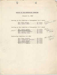 Report of the Nominating Committee, Y.W.C.A., January 31, 1949