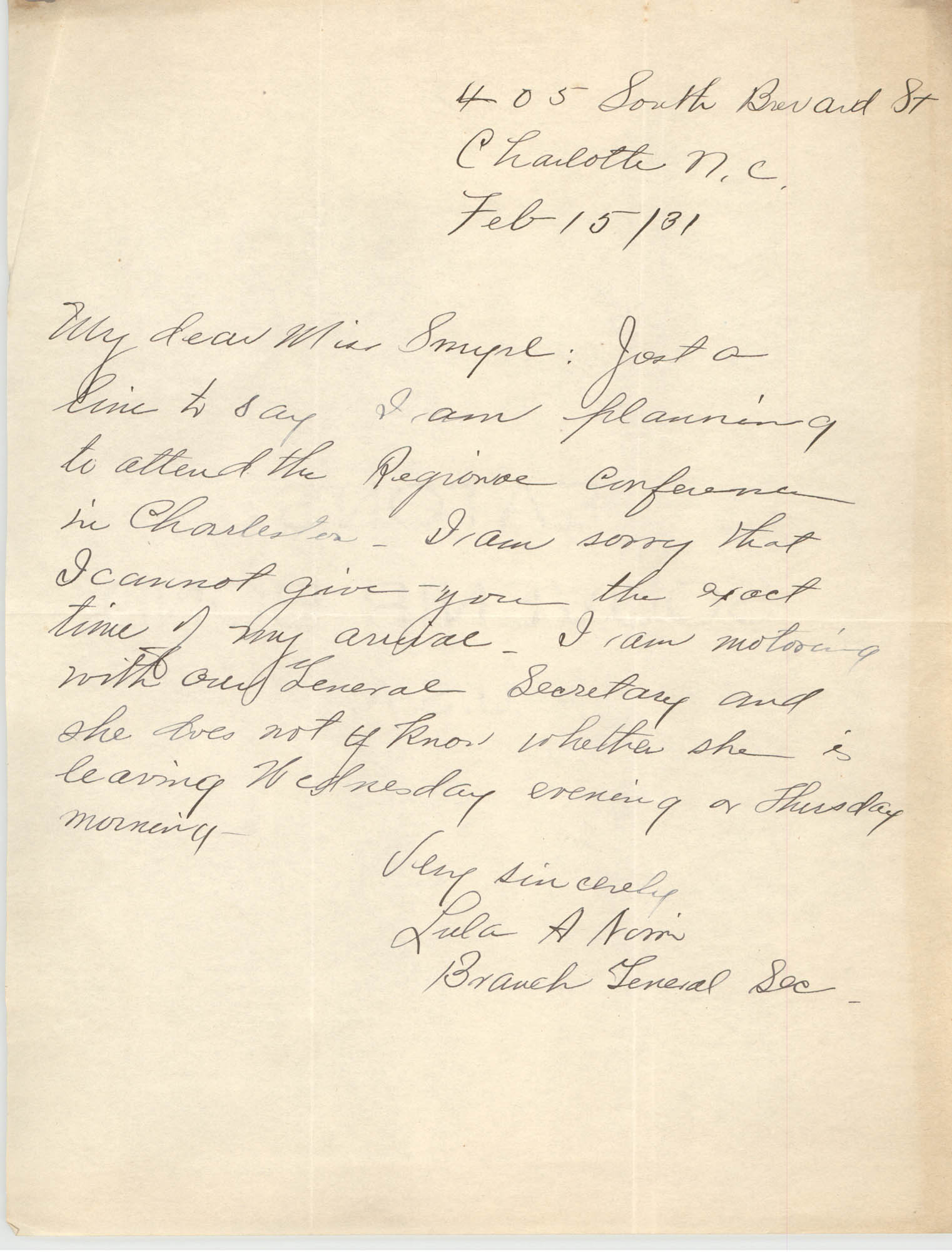 Letter from Branch General Secretary for Y.W.C.A. to Ella L. Smyrl, February 15, 1931