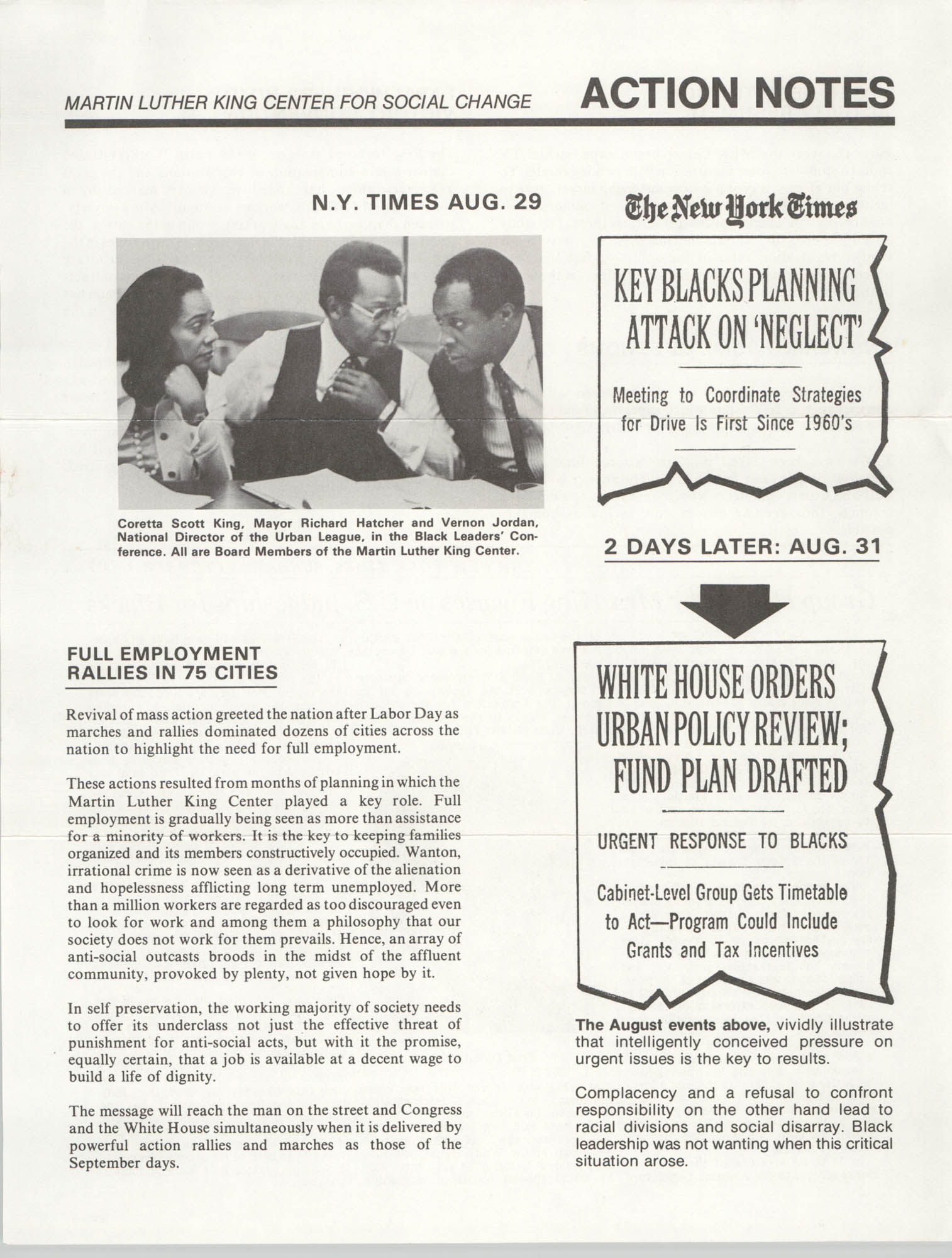Martin Luther King Center for Social Change Action Notes, 1977