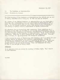 Coming Street Y.W.C.A. Memorandum, September 13, 1967