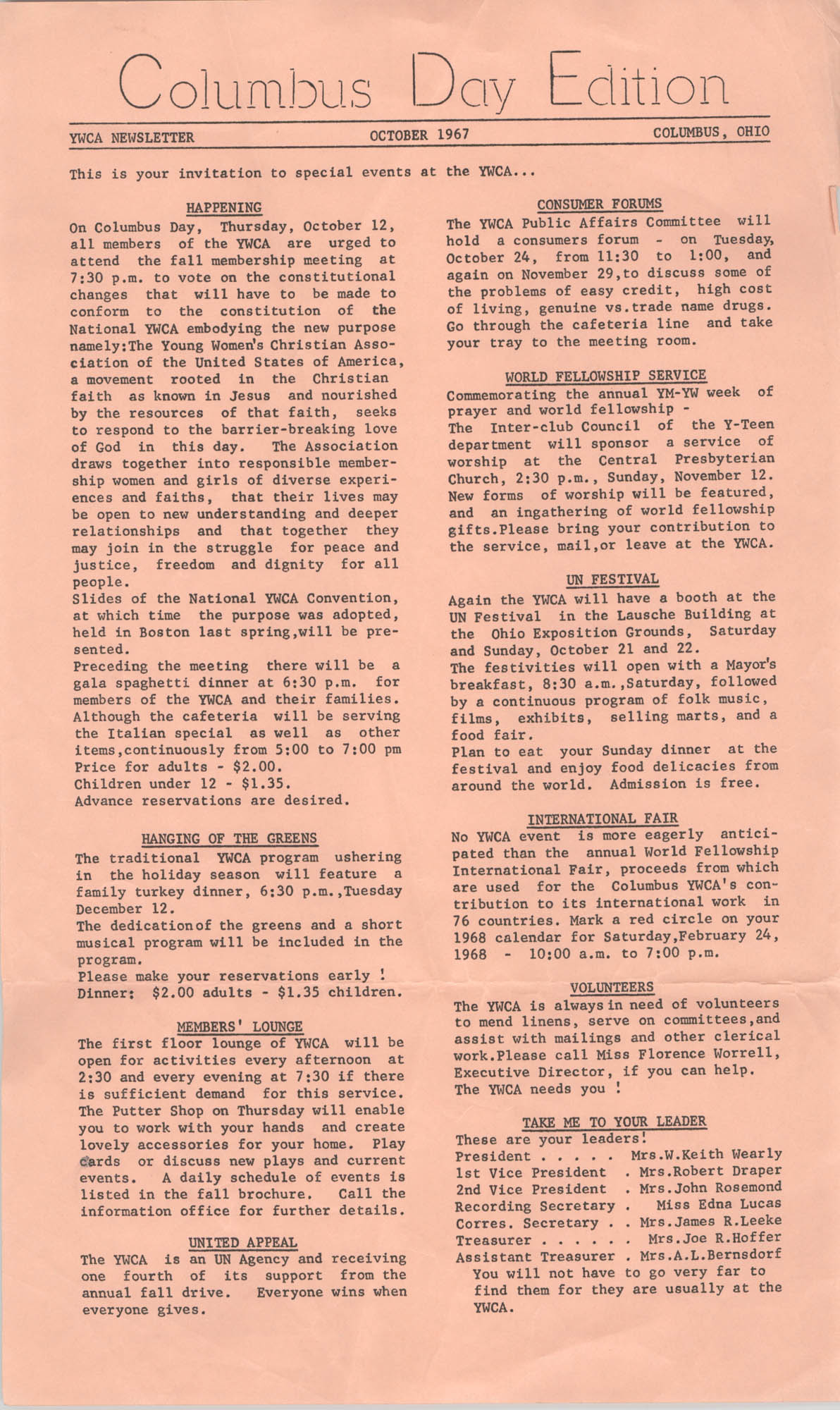 Y.W.C.A. Newsletter,