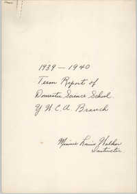 Term Report of Domestic Science School, Coming Street Y.W.C.A., 1939 to 1940
