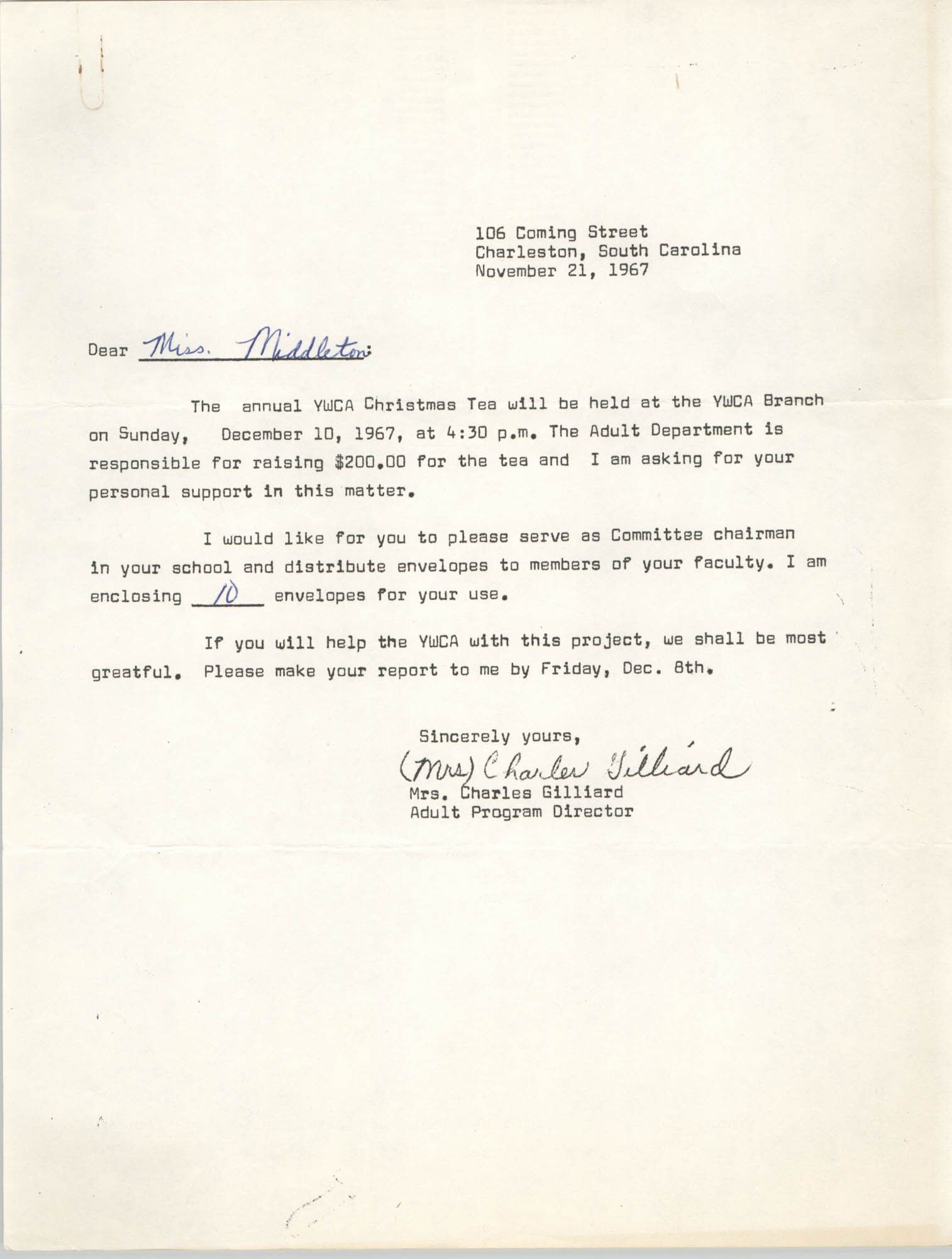 Letter from Mrs. Charles Gilliard to