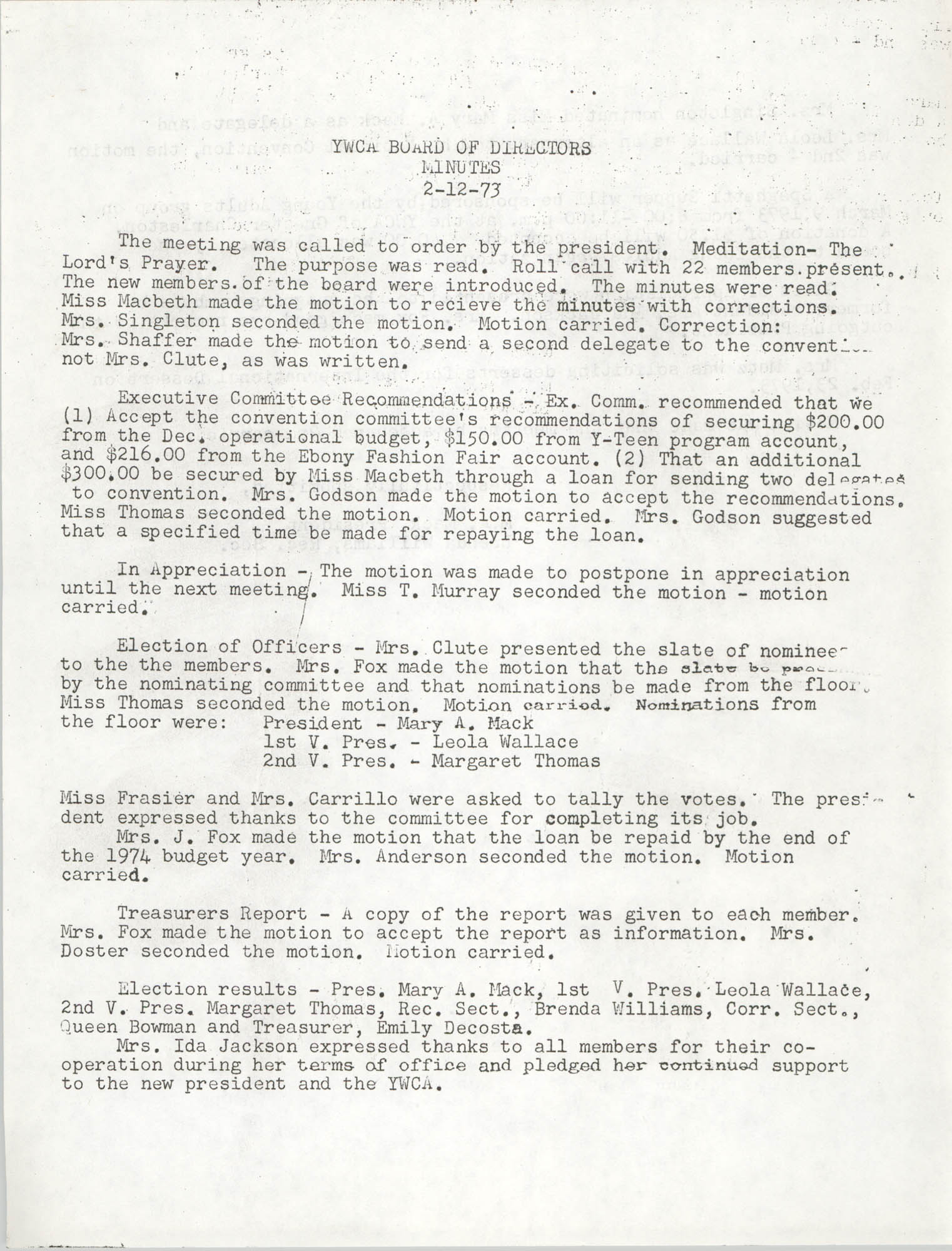 Minutes to the Y.W.C.A. Board of Director's Meeting, February 12, 1973