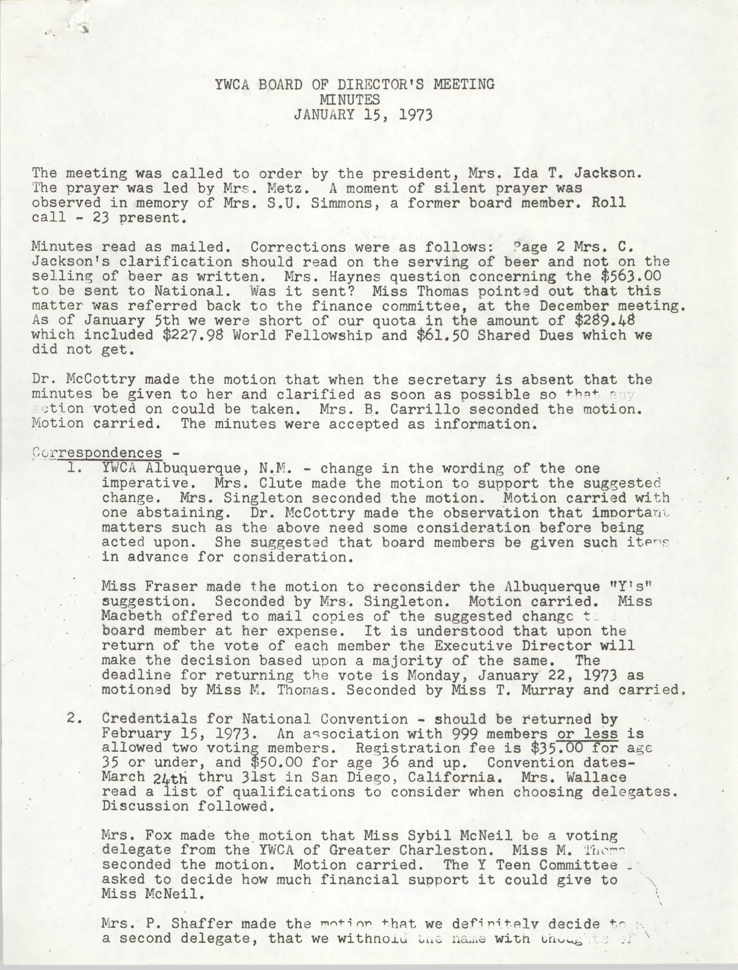 Minutes to the Y.W.C.A. Board of Director's Meeting, January 15, 1973