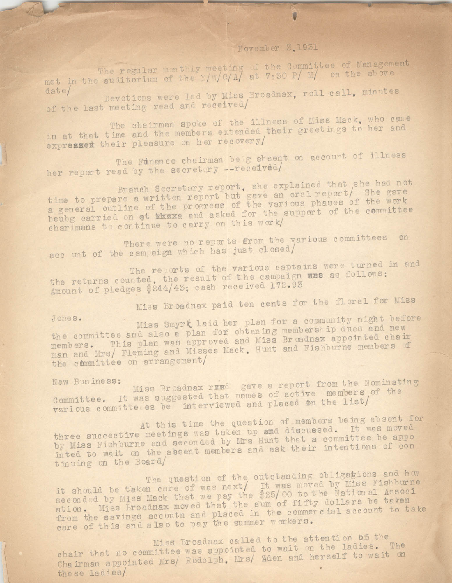 Minutes to the Committee of Management, Coming Street Y.W.C.A., November 3, 1931