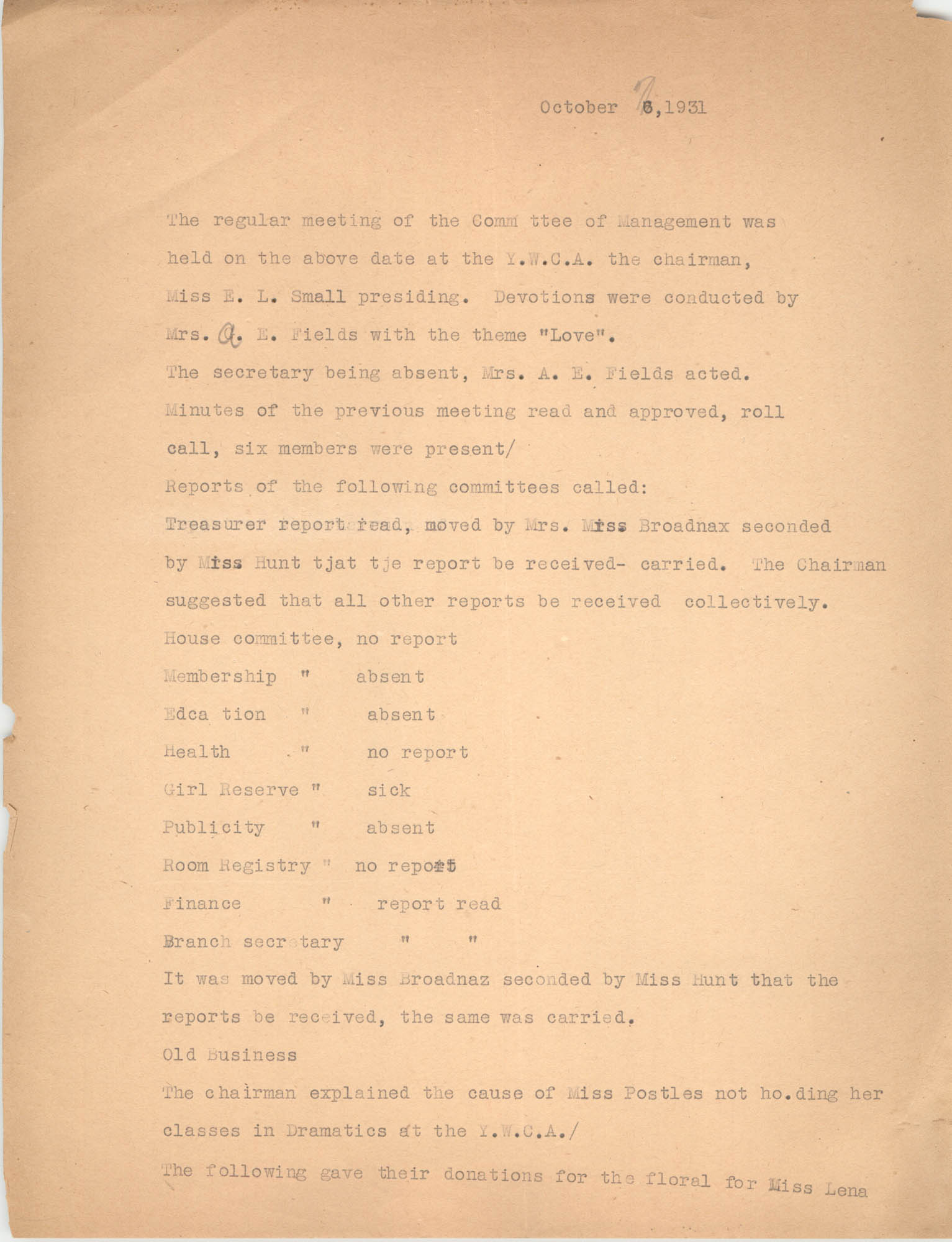 Minutes to the Committee of Management, Coming Street Y.W.C.A., October 7, 1931