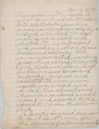 Minutes to the Board of Management, Coming Street Y.W.C.A., November 2, 1927