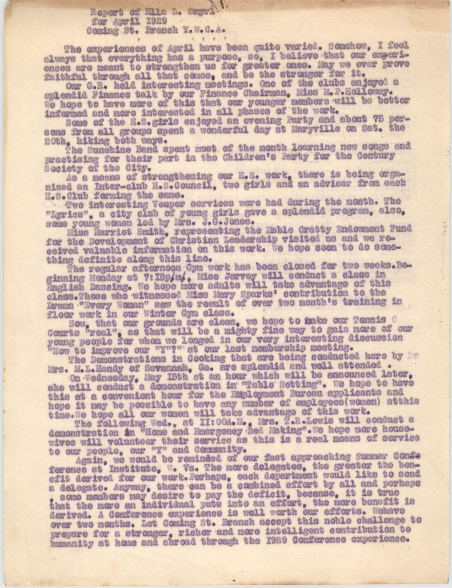 Monthly Report for the Coming Street Y.W.C.A., April 1929
