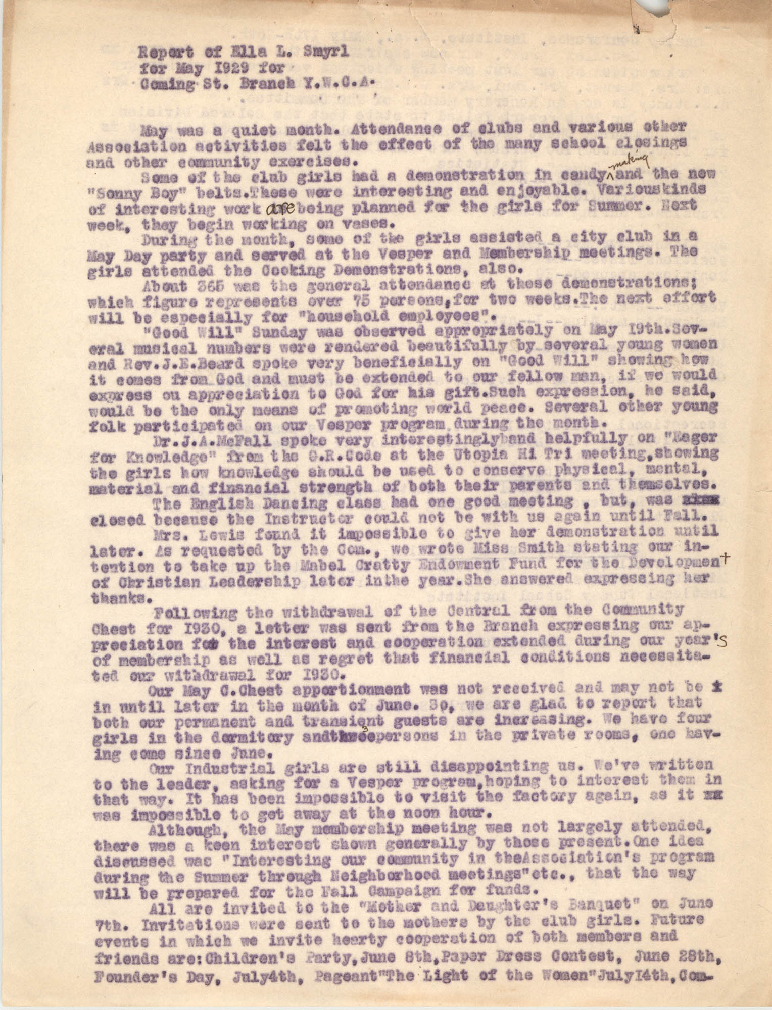 Monthly Report for the Coming Street Y.W.C.A., May 1929