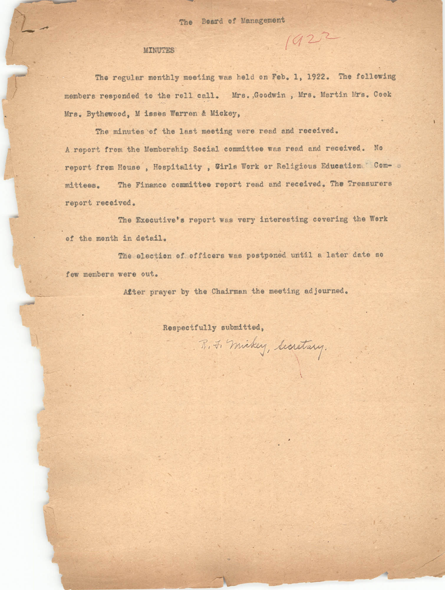 Minutes to the Board of Management Meeting, Coming Street Y.W.C.A., February 1, 1922