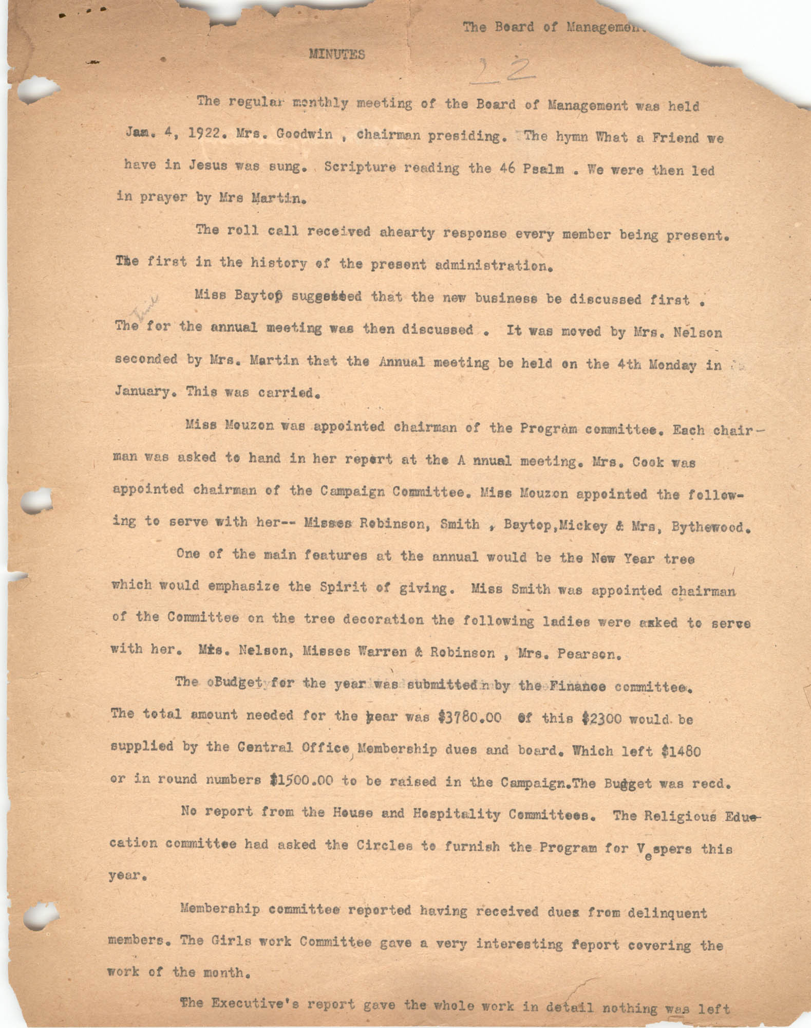 Minutes to the Board of Management Meeting, Coming Street Y.W.C.A., January 4, 1922