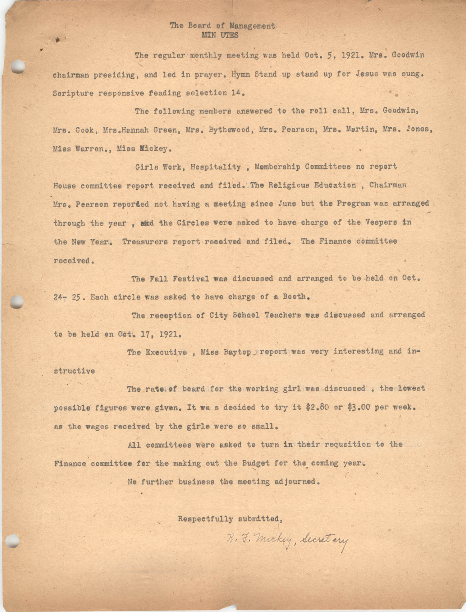 Board of Management Minutes, Coming Street Y.W.C.A., October 5, 1921