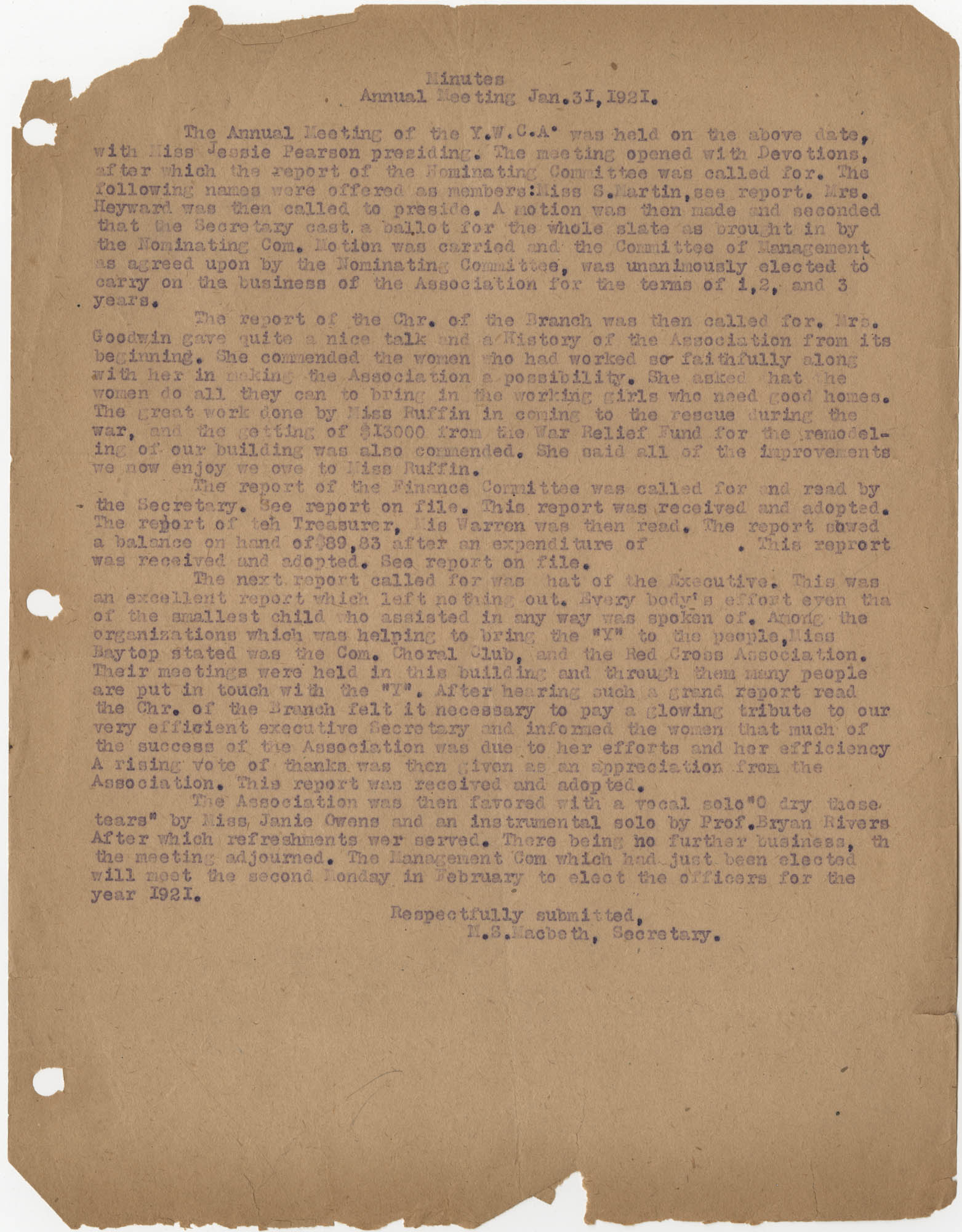 Minutes, Coming Street Y.W.C.A., January 31, 1921