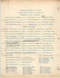 Committee of Management for 1922, Coming Street Y.W.C.A.