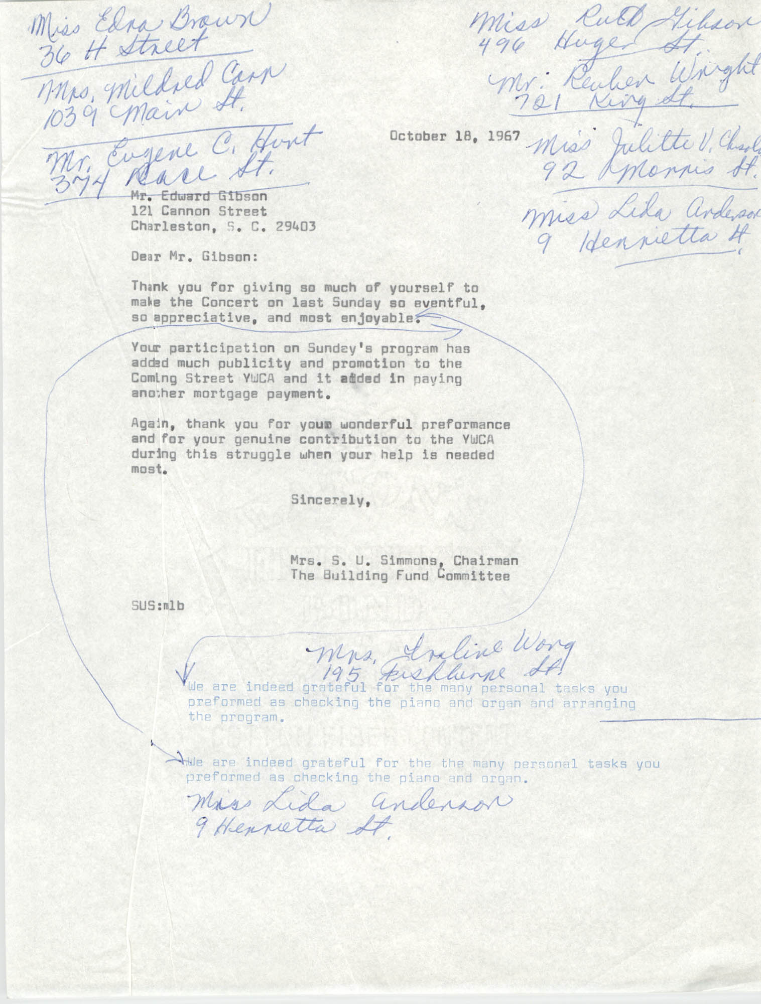 Letter from Mrs. S. U. Simmons to Edward Gibson, October 18, 1967