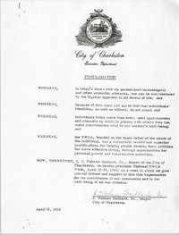 Proclamation for National Y.W.C.A. Week, City of Charleston, April 16, 1968