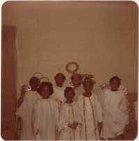 Photograph of a Group of Children at the Y.W.C.A. Christmas Tea, 1975