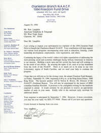 Letter from Dwight C. James to Ron Laughlin, August 19, 1994