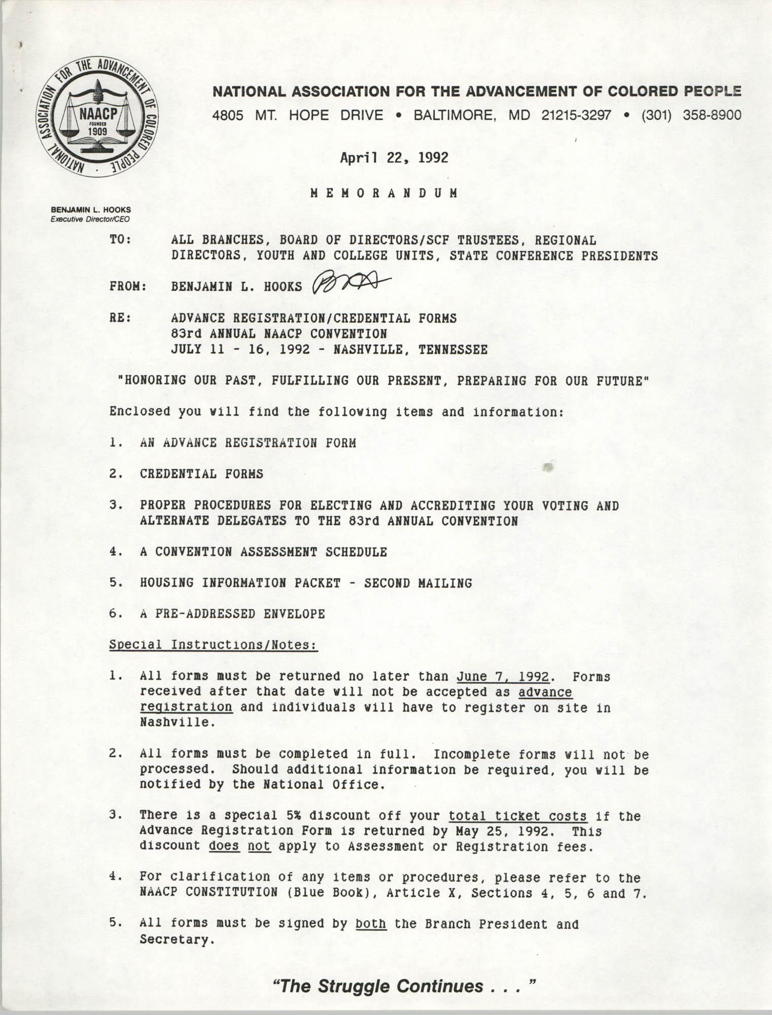 NAACP Memorandum, April 22, 1992