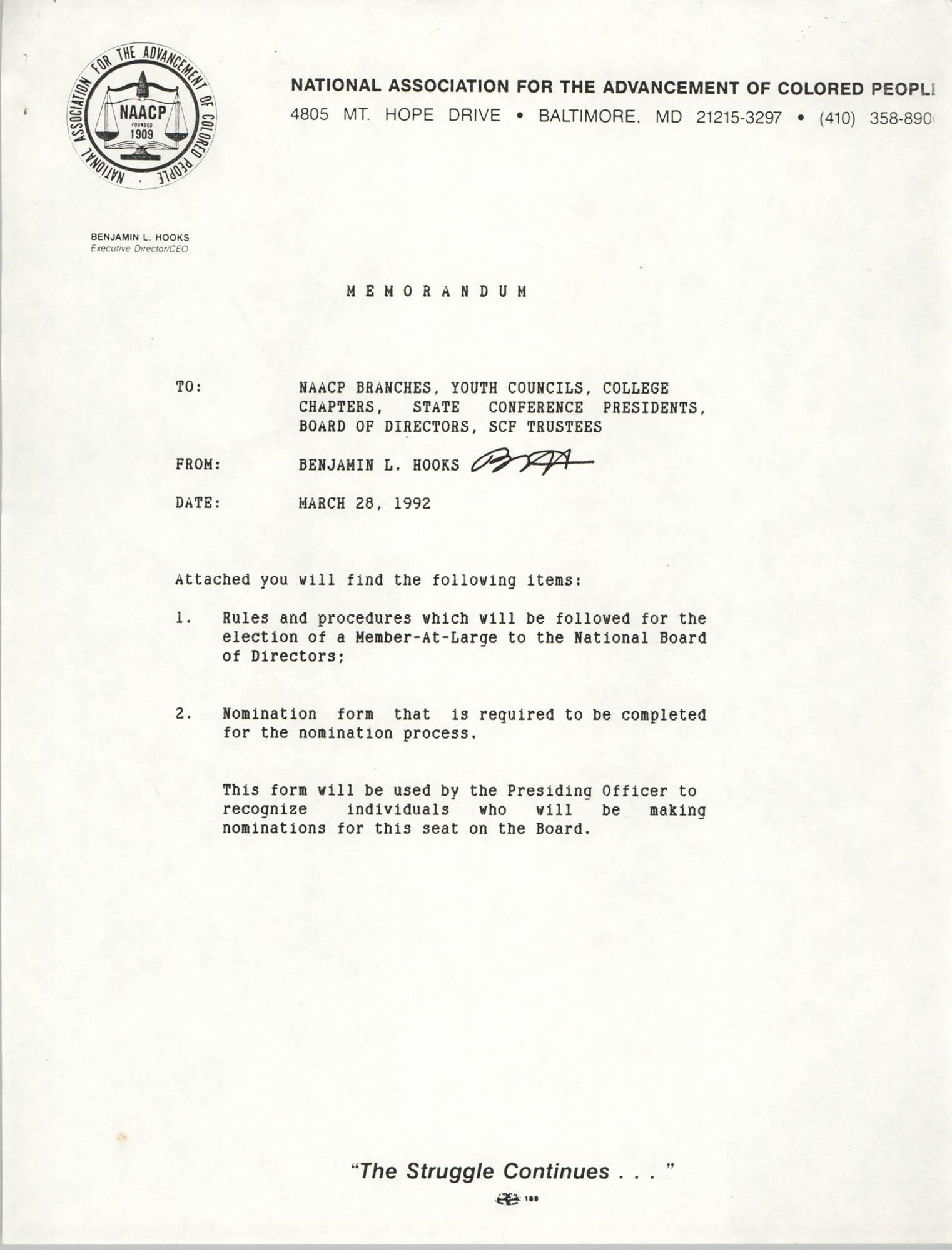 NAACP Memorandum, March 28, 1992