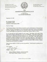 Letter from Dwight C. James to Benjamin Wright, September 20, 1994