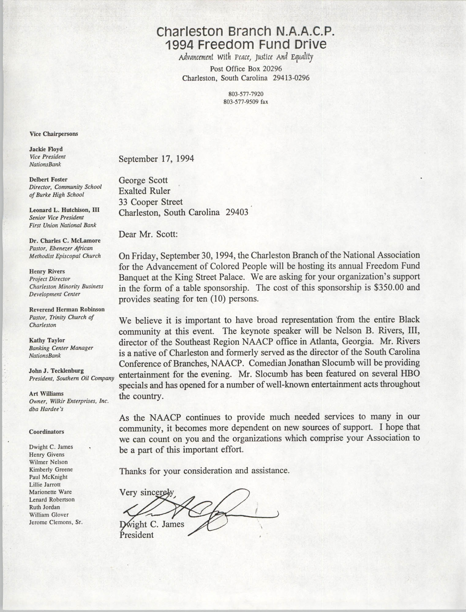 Letter from Dwight C. James to George Scott, September 17, 1994