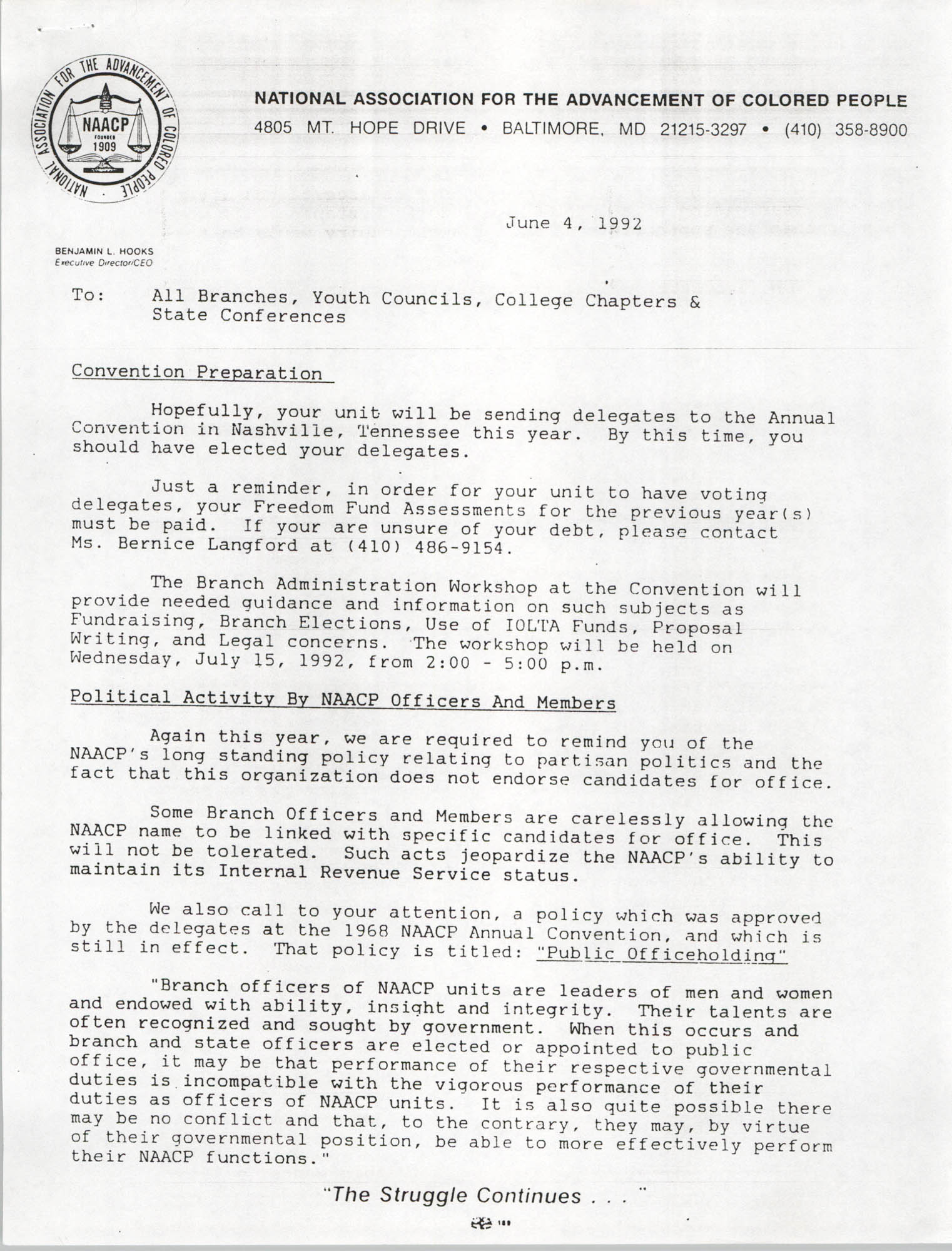 NAACP Memorandum, June 4, 1992