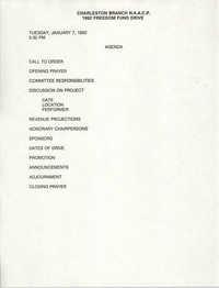 Charleston Branch NAACP 1992 Freedom Fund Drive Agenda