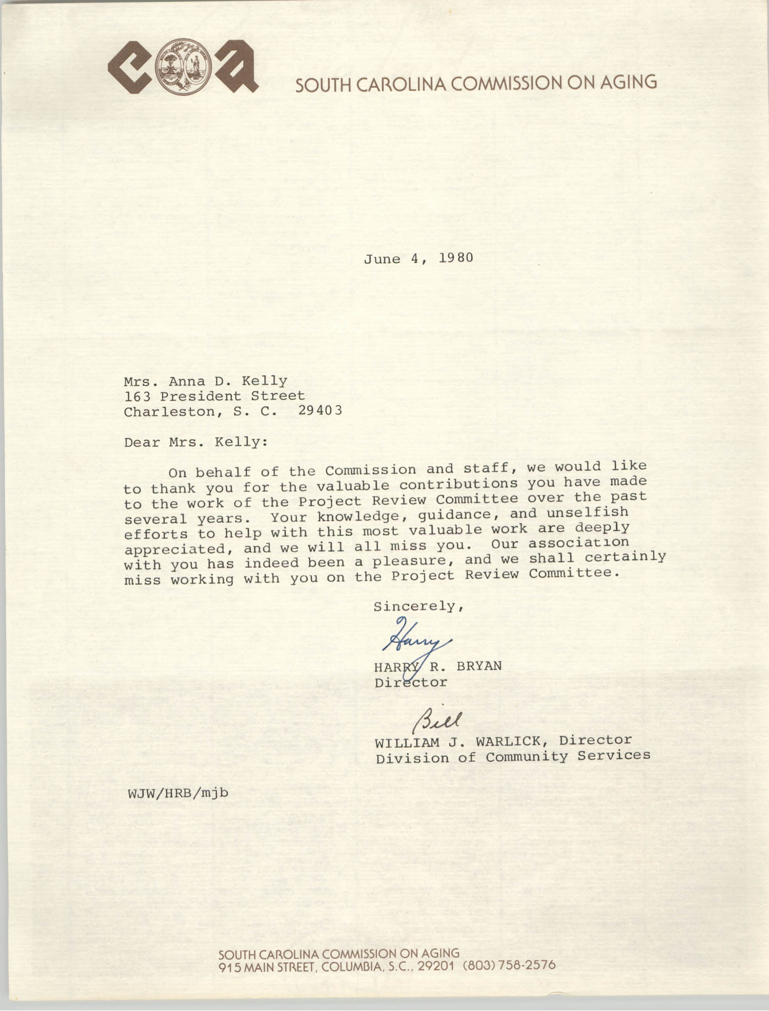 Letter from Harry R. Bryan and William J. Warlick to Anna D. Kelly, June 4, 1980