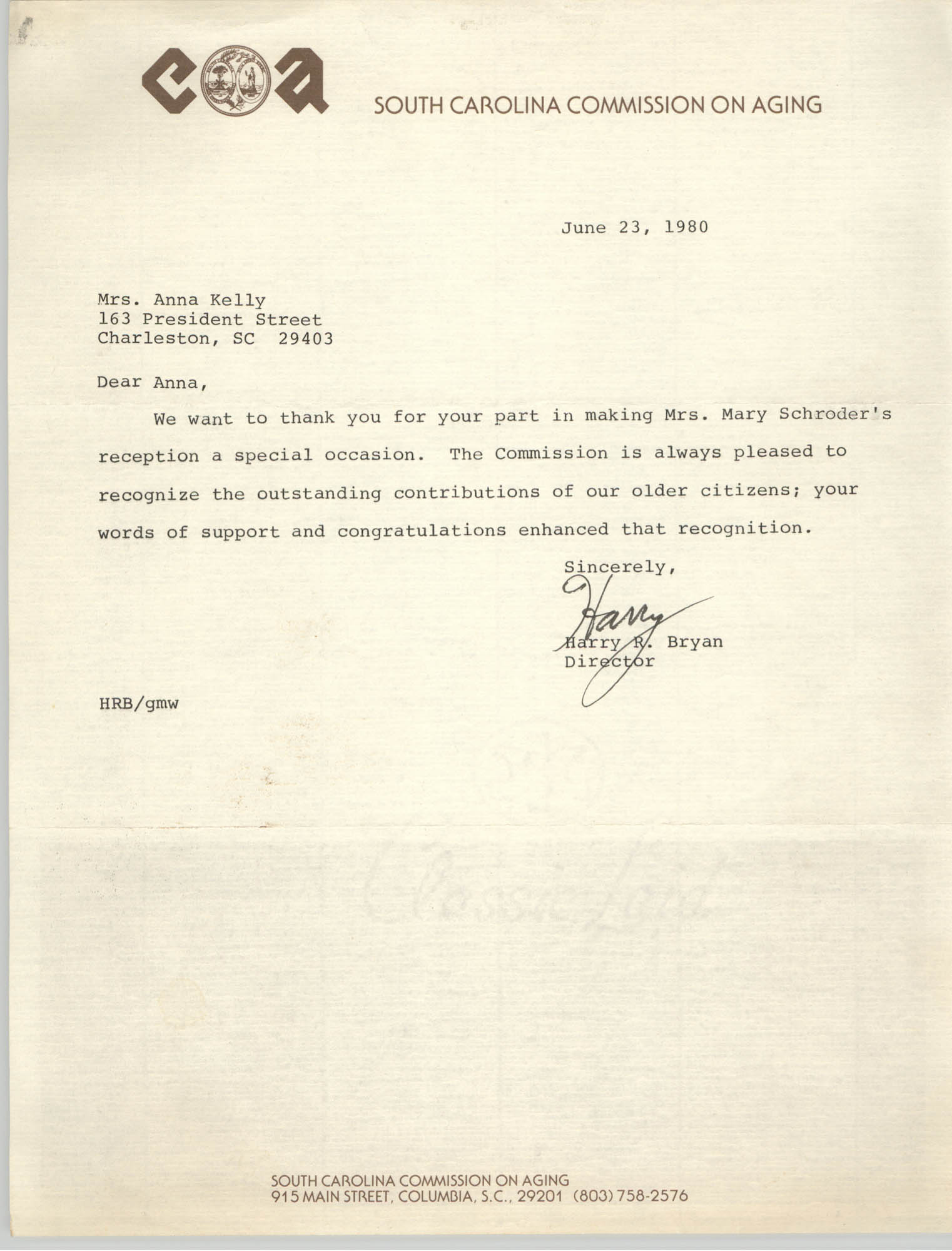 Letter from Harry R. Bryan to Anna D. Kelly, June 23, 1980