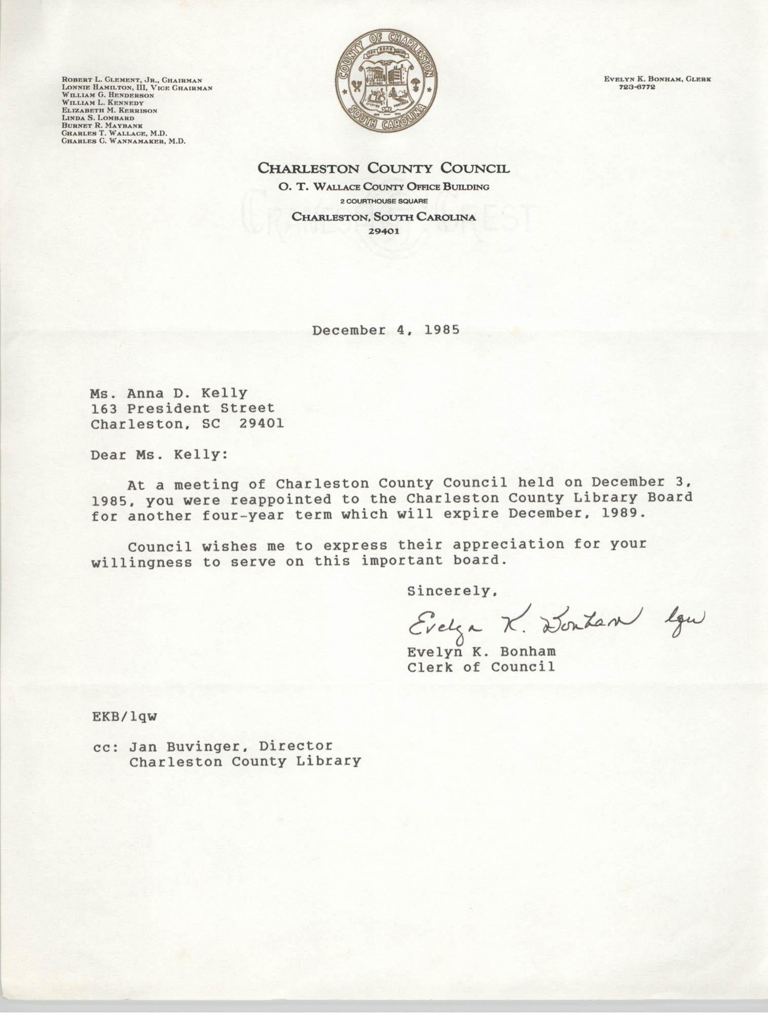 Letter from Evelyn K. Bonham to Anna D. Kelly, December 4, 1985