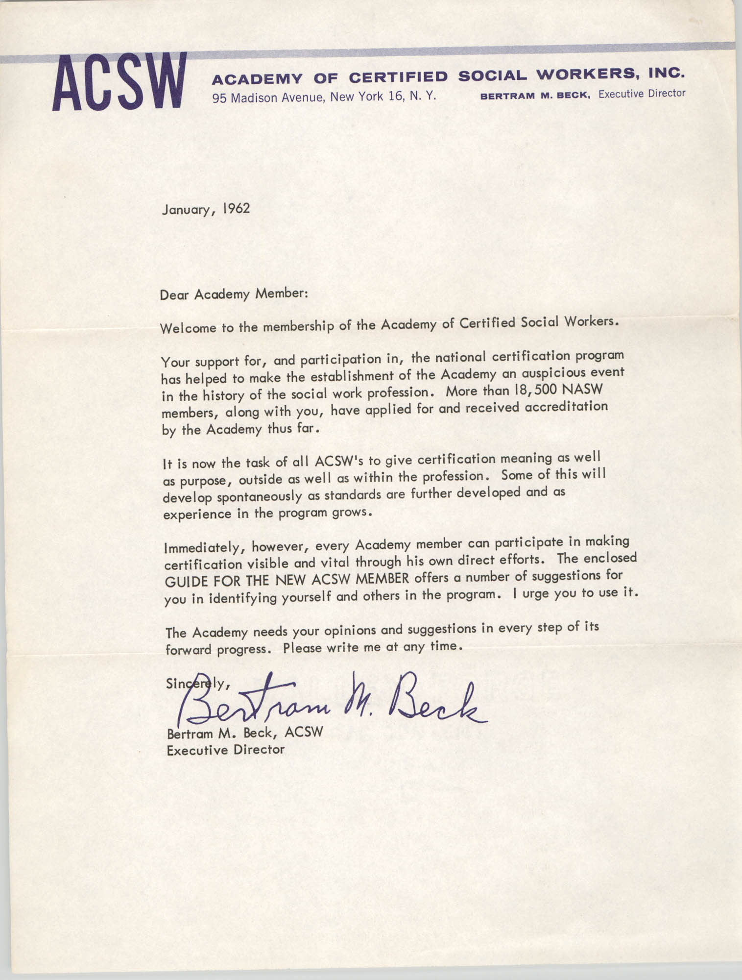 Letter from the Academy of Certified Social Workers, Inc., January 1962