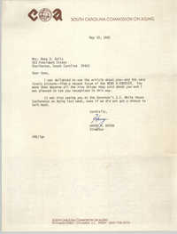 Letter from Harry R. Bryan to Anna D. Kelly, May 19, 1981