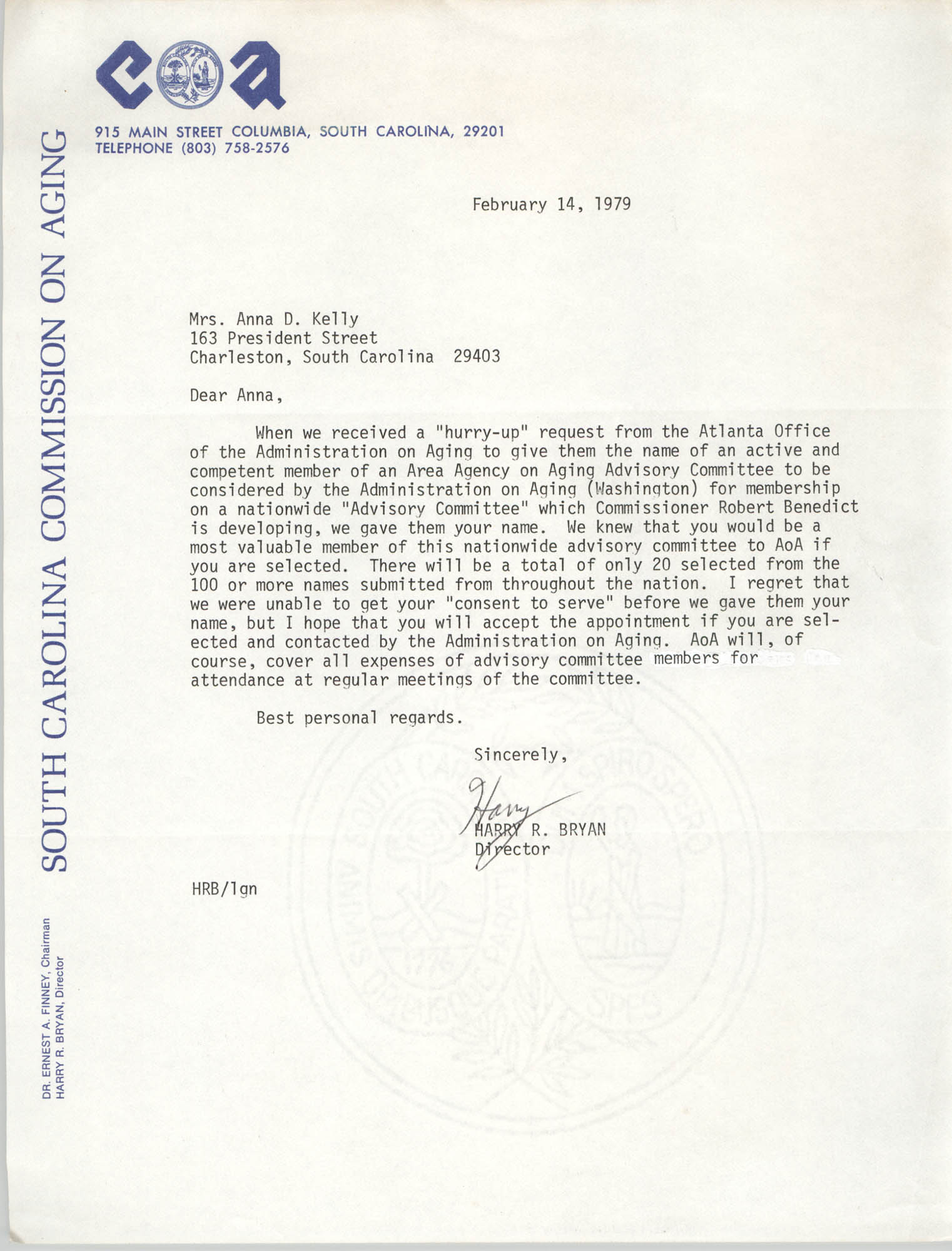 Letter from Harry R. Bryan to Anna D. Kelly, February 14, 1979