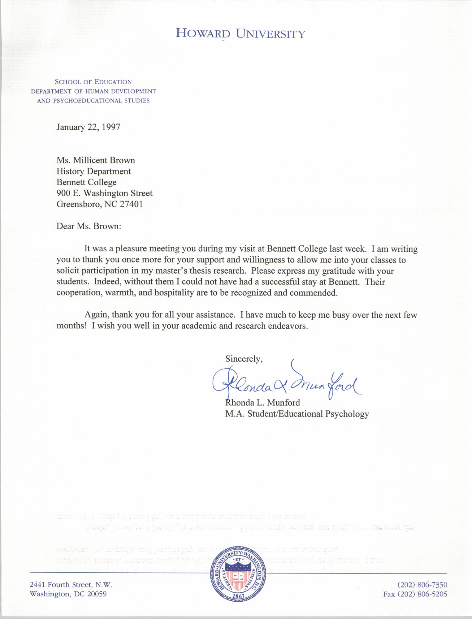Letter from Rhonda L. Munford to Millicent Brown, January 22, 1997