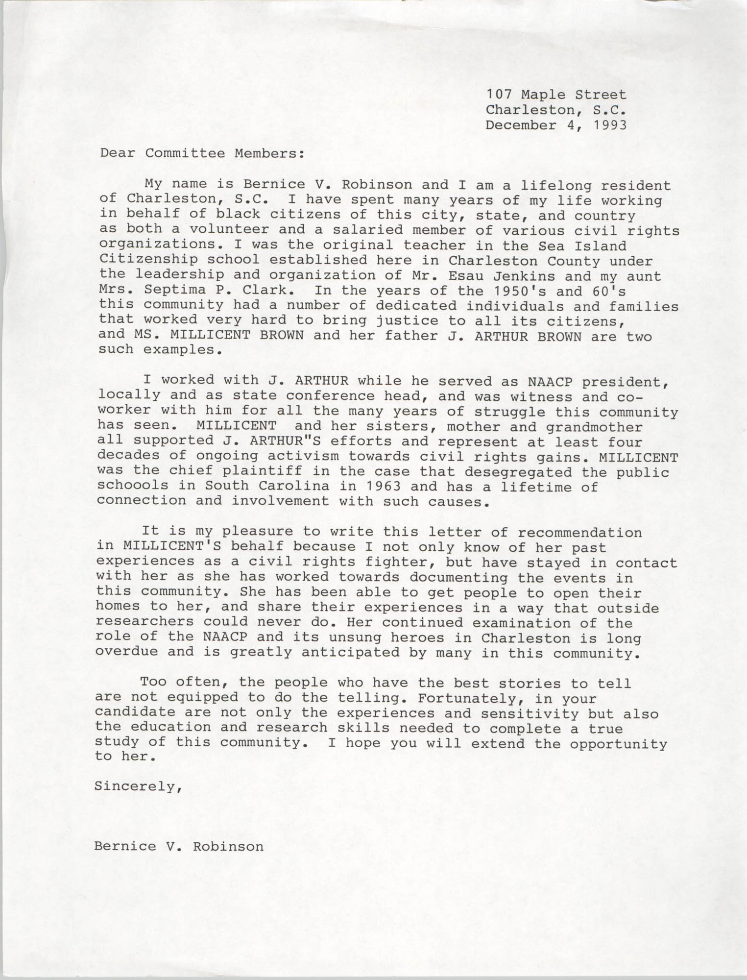 Letter from Bernice Robinson, December 4, 1993