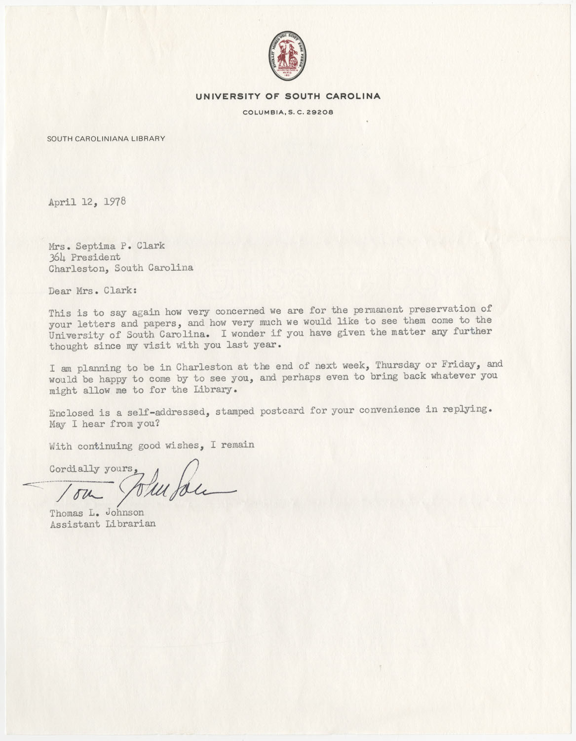 Letter from Thomas L. Johnson to Septima P. Clark, June 12, 1978