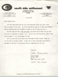 Letter from Ellen Eisenman to Septima P. Clark, July 7, 1978