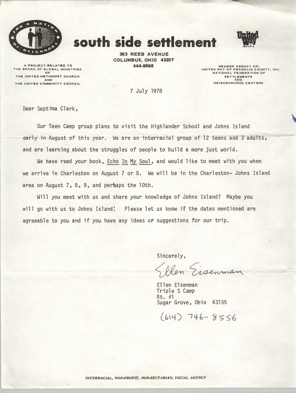 Letter from Ellen Eisenman to Septima P. Clark, July 7, 1978