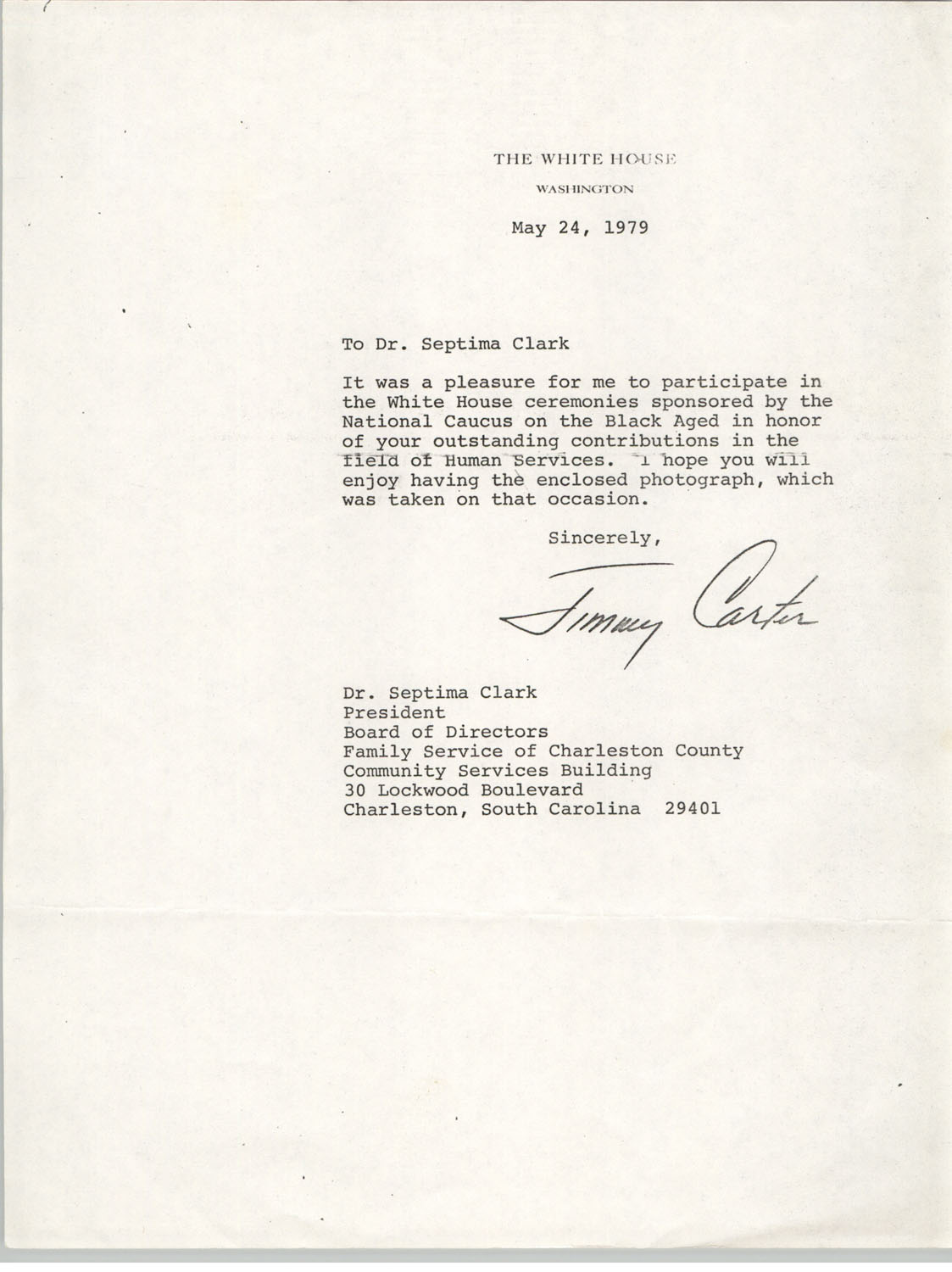 Letter from Jimmy Carter to Septima P. Clark, May 24, 1979