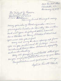 Letter from Septima P. Clark to Wilmot J. Fraser, February 14, 1979