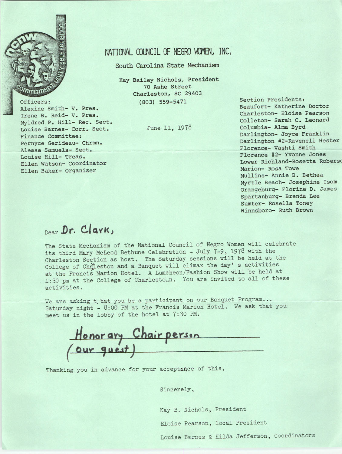 Letter from Kay B. Nichols to Septima P. Clark, June 11, 1978