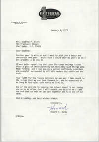 Letter from Howard F. Burky to Septima P. Clark, January 4, 1979