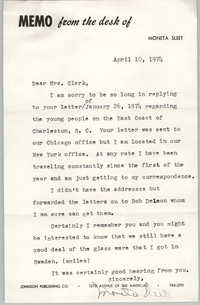 Memorandum from Moneta Sleet to Septima P. Clark, April 10, 1974
