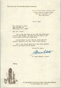 Letter from R. Orman Roberts to Septima P. Clark, May 3, 1973