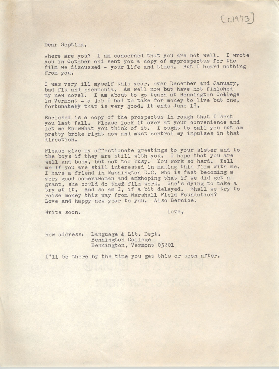 Letter from Josephine Rider to Septima P. Clark, 1973